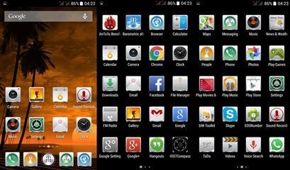 Меню и рабочий стол китайского защищённого смартфона iMAN i5800C