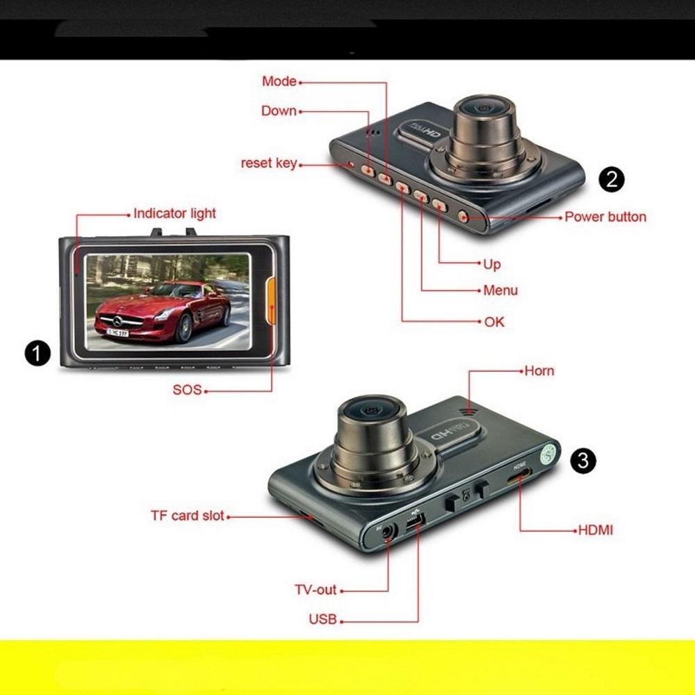Схема назначения кнопок и разъёмов китайского видеорегистратора G95A