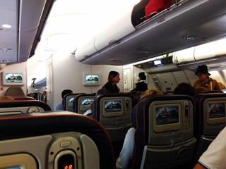 Внутри самолёта Аэрофлота перед отлётом из Гуанчжоу в Москву