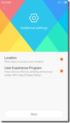 Отправка местоположения и участие в программе улучшения продуктов Xiaomi