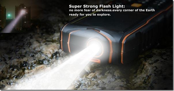 Мощный фонарик китайского защищённого телефона VKworld Stone V3