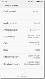 Xiaomi Redmi 3 - версия прошивки