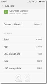 Вот так выглядит оригинальное приложение Download Manager на Xiaomi Redmi 3