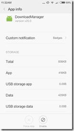 Отключение заражённого вирусом приложения DownloadManager на Xiaomi Redmi 3